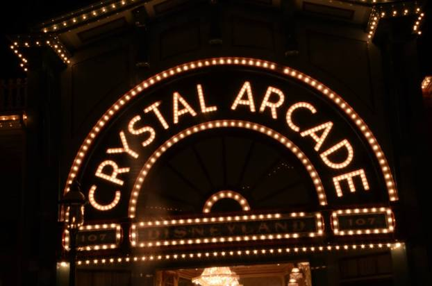 crystal arcade at night