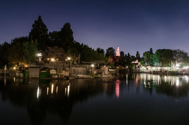 Tom Sawyer Island Big Thunder blue night